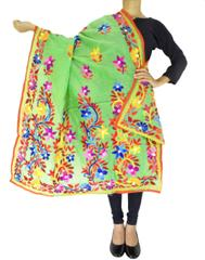 Chanderi Hand Embroidered Dupatta-Green 1