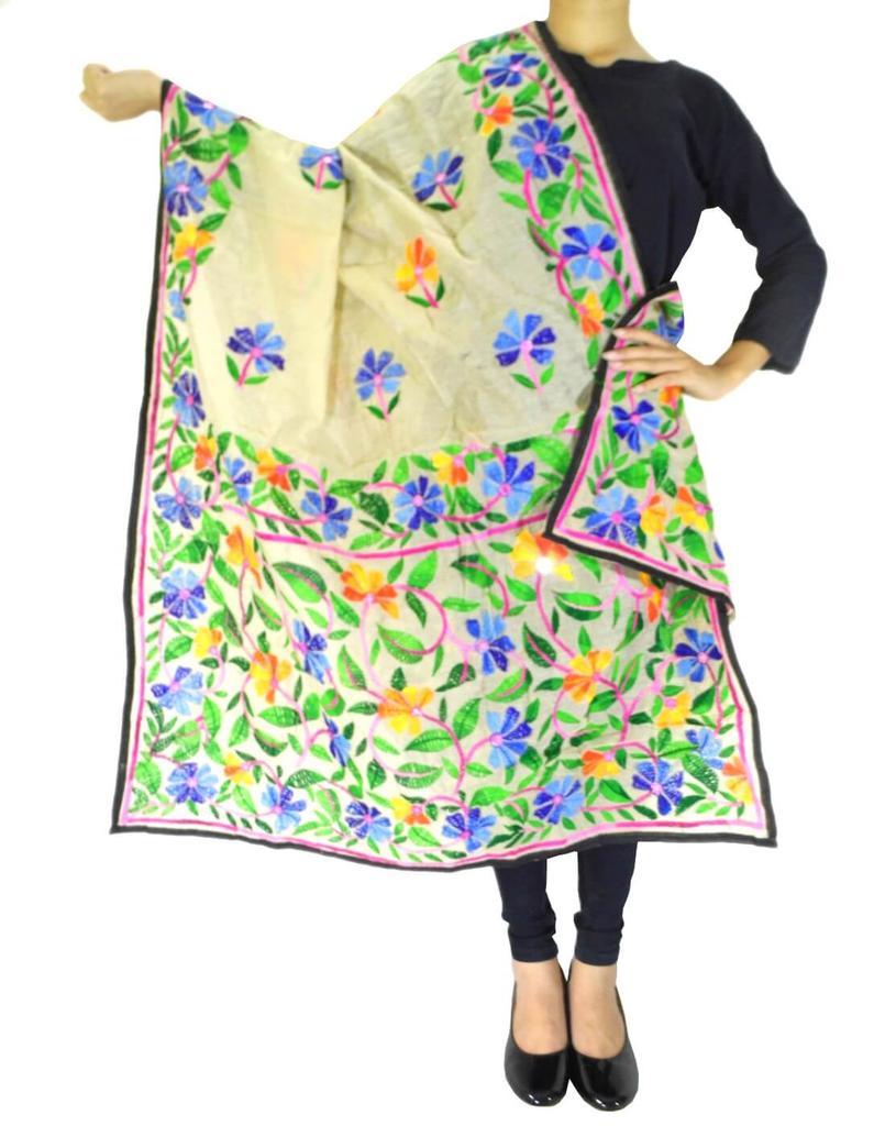 Chanderi Hand Embroidered Dupatta-Beage 3