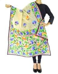 Chanderi Hand Embroidered Dupatta-Beage 3