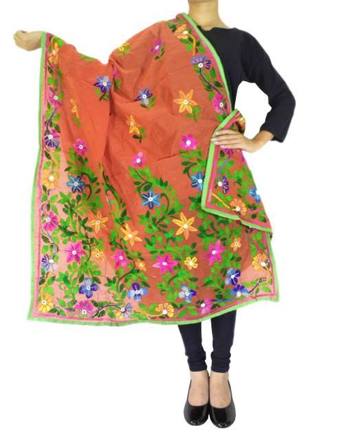 Chanderi Hand Embroidered Dupatta-Rust