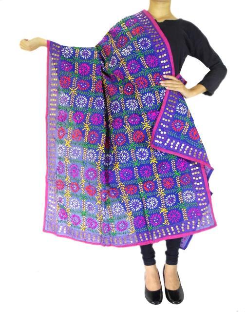 Phulkari Dupatta on Chanderi Fabric -Blue