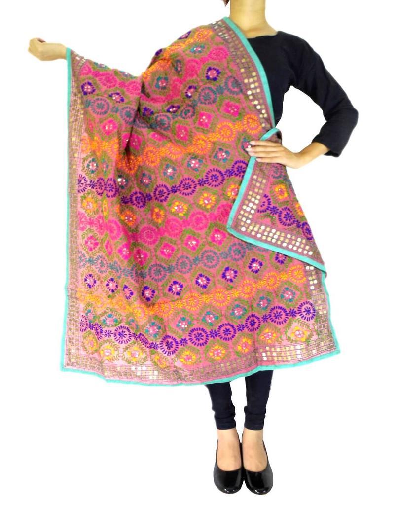 Phulkari Dupatta on Chanderi Fabric -Peach