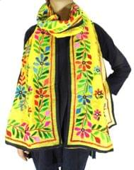 Chanderi Hand Embroidered-Yellow