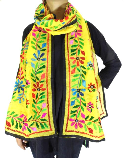 Chanderi Hand Embroidered Stole-Yellow