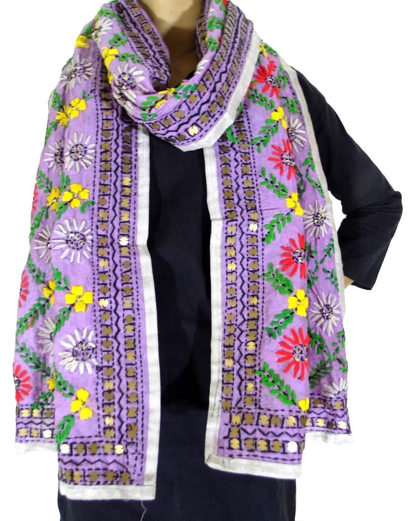 Chanderi Cotton Silk Phulkari Stole -Purple
