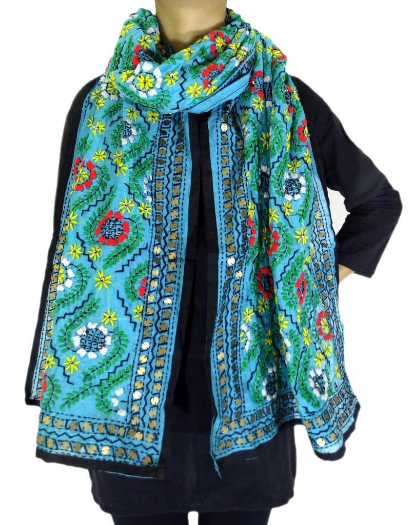Chanderi Cotton Silk Phulkari Stole -Turquoise