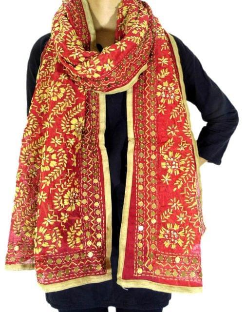 Chanderi Cotton Silk Phulkari Stole -Red&Beige