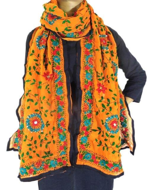 Georgette Phulkari Stole -Orange