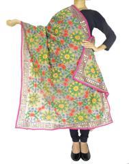 Phulkari Dupatta on Chanderi Fabric -Beige
