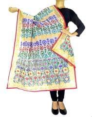 Phulkari Dupatta on Chanderi Fabric -White 1