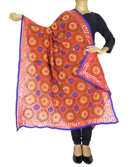 Phulkari Dupatta on Chanderi Fabric -Rust 1