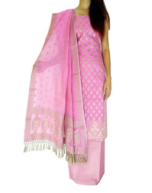 Benarasi Jamdani Brocade Suit in Silk-Cotton- Light Pink