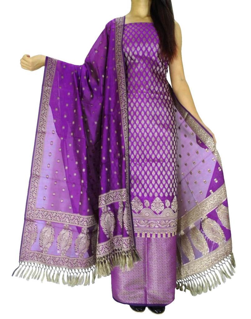 Benarasi Jamdani Brocade Suit in Silk-Cotton- Purple
