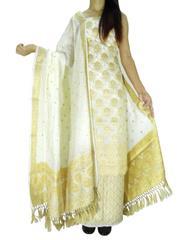 Benarasi Jamdani Brocade Suit in Silk-Cotton- White