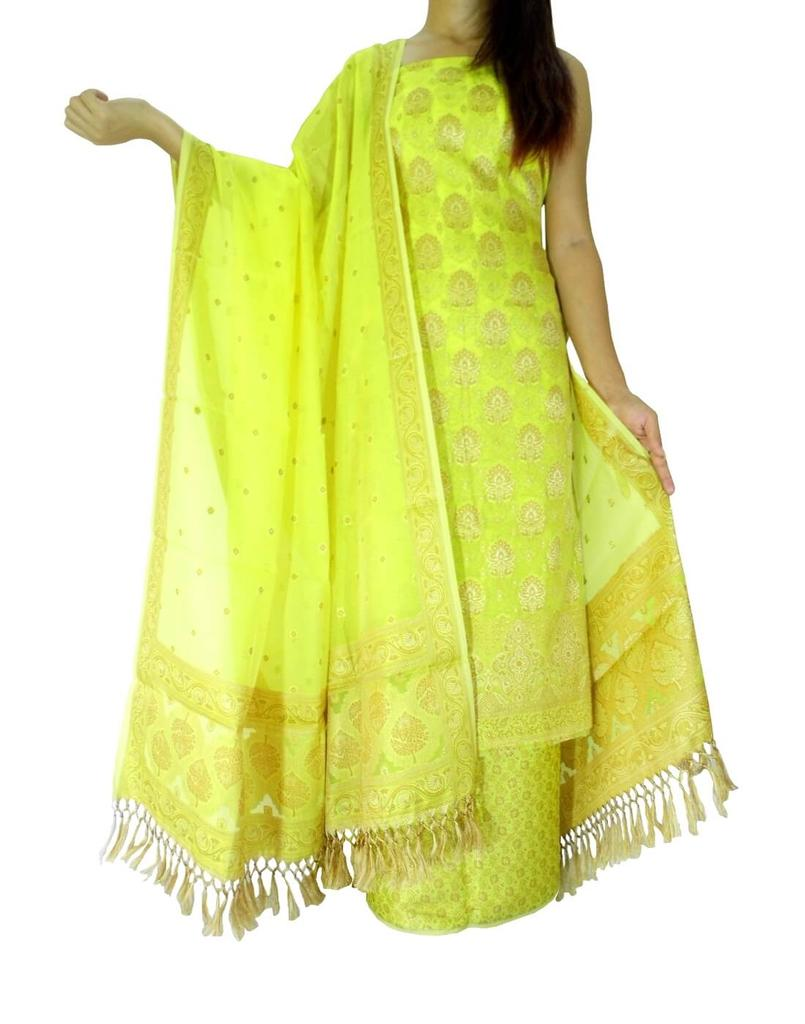 Benarasi Jamdani Brocade Suit in Silk-Cotton- Yellow