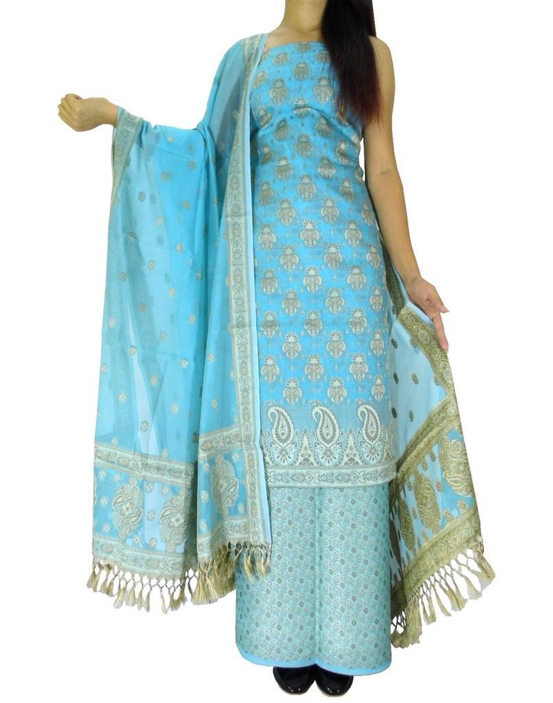 Benarasi Jamdani Brocade Suit in Silk-Cotton- Turquoise