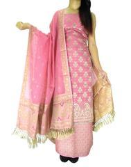 Benarasi Jamdani Brocade Suit in Silk-Cotton-Pink