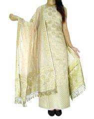 Benarasi Jamdani Brocade Suit in Silk-Cotton-Light Beige