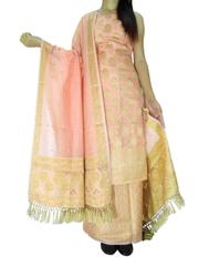Benarasi Jamdani Brocade Suit in Silk-Cotton-Peach 1