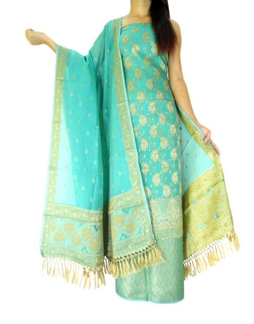 Benarasi Jamdani Brocade Suit in Silk-Cotton-Sea Green