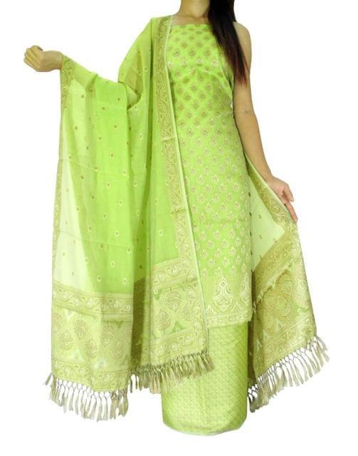 Benarasi Jamdani Brocade Suit in Silk-Cotton-Lime Green