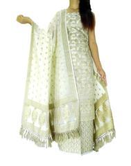 Benarasi Jamdani Brocade Suit in Silk-Cotton-White 2