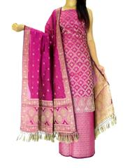 Benarasi Jamdani Brocade Suit in Silk-Cotton-Dark Fuschia