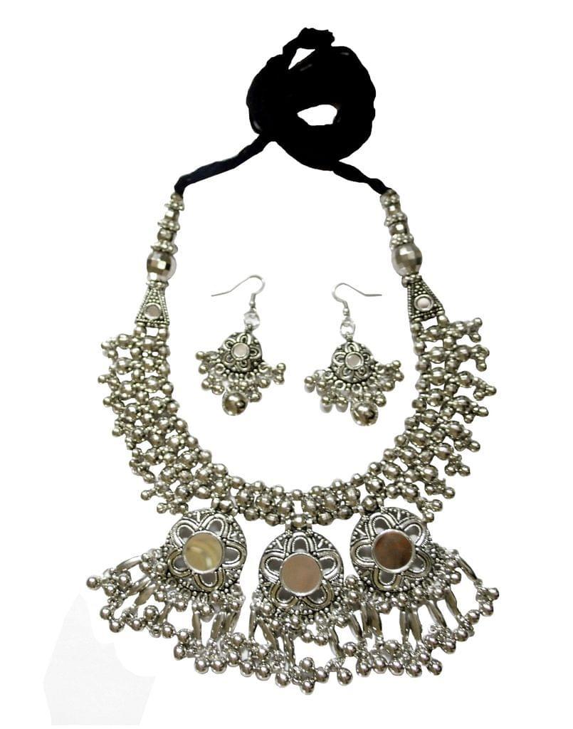 Oxidized Metal Jewellery Set- Mirror Pendant
