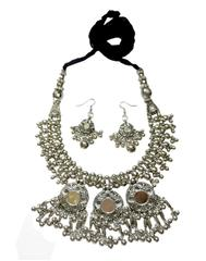 Oxidized Metal Jewellery Set- Mirror Pendant