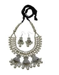 Oxidized Metal Jewellery Set- Mirror Pendant 1