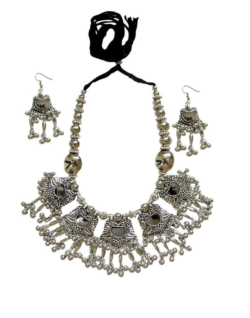 Oxidized Metal Jewellery Set- Mirror Pendant 2