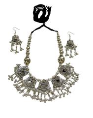 Oxidized Metal Jewellery Set- Mirror Pendant 2