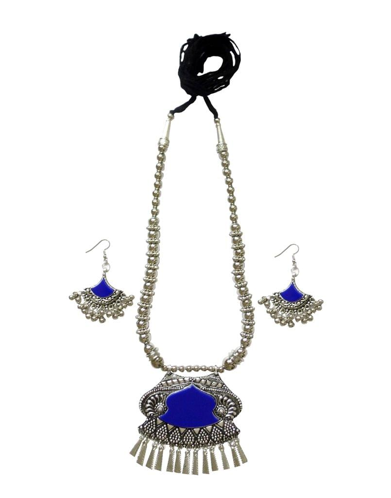 Oxidized Metal With Meenakari Jewellery Set- Blue Pendant