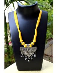 Threaded German Silver Necklace&Pendant-Yellow