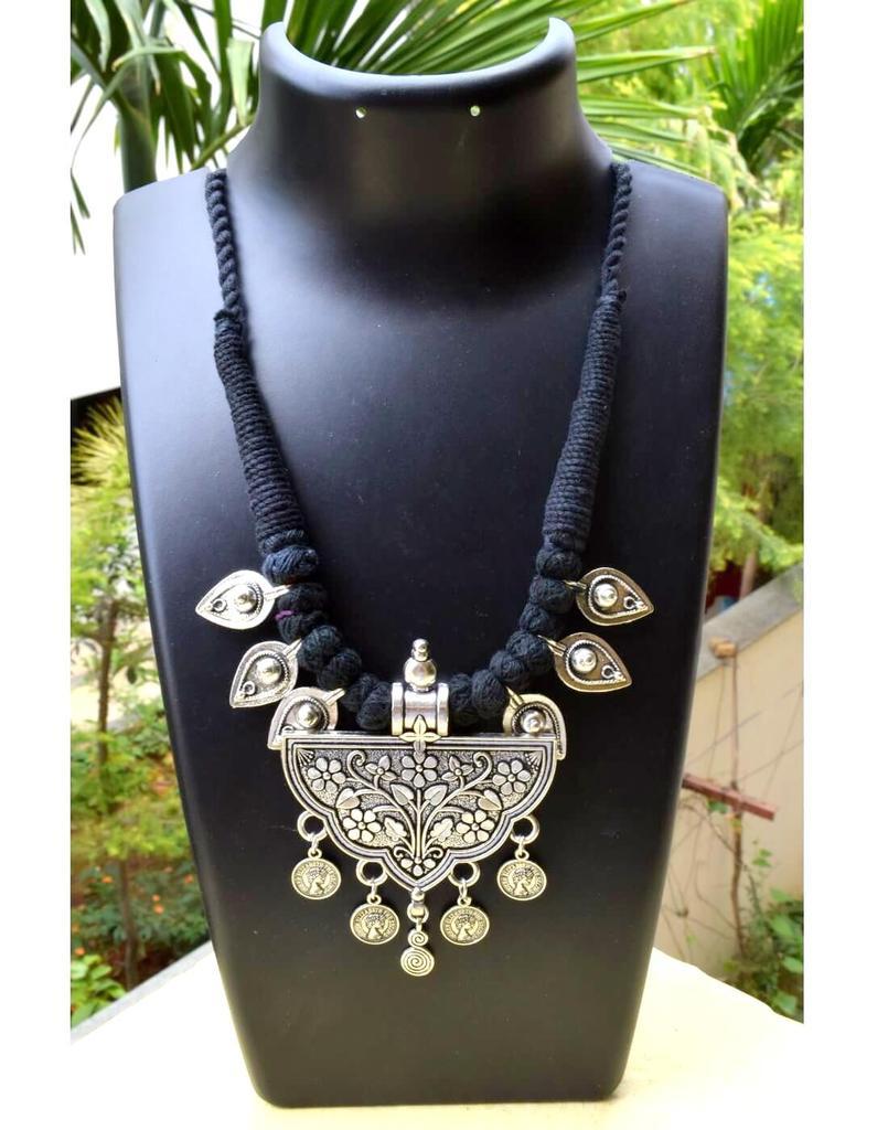 Threaded German Silver Necklace&Pendant-Black