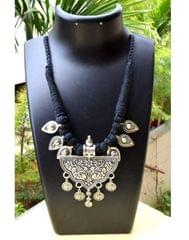 Threaded German Silver Necklace&Pendant-Black