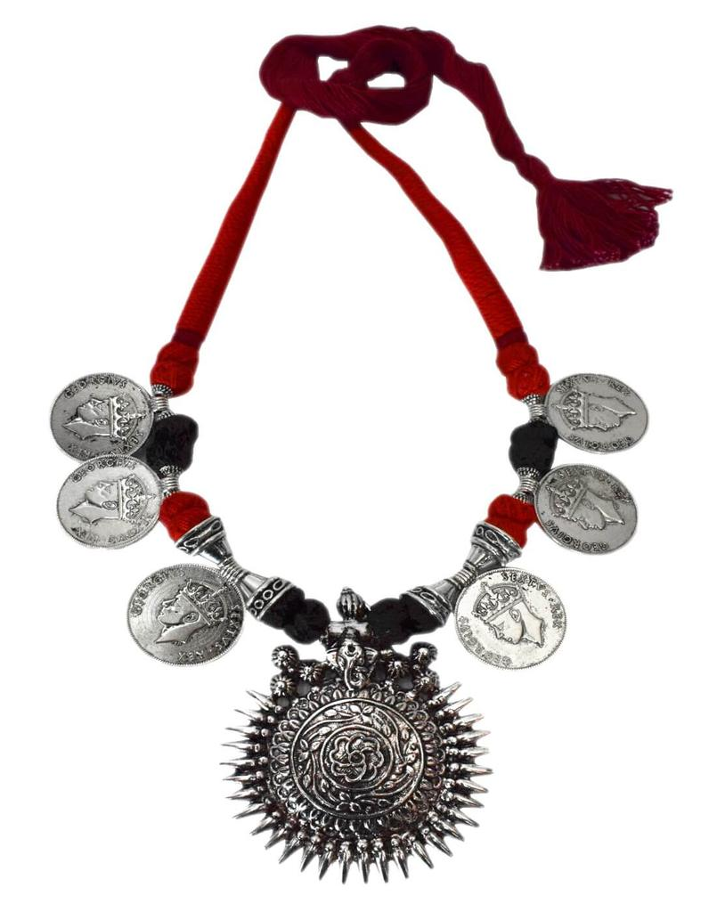 Threaded German Silver Necklace/Pandent- Red&Black with Sun Pendant