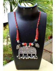 Threaded German Silver Necklace-Black&Red Thread