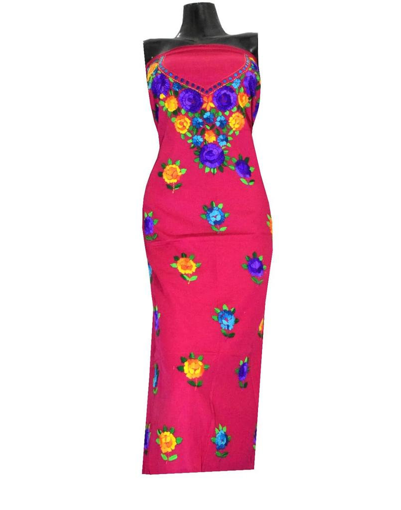 Unstitched Cotton Parsi Work Kurta- Deep Pink