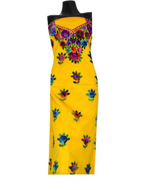Unstitched Cotton Parsi Work Kurta- Yellow