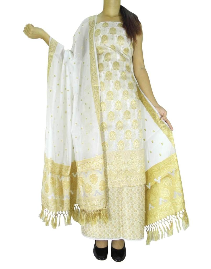Benarasi Jamdani Brocade Suit in Silk-Cotton-White 3