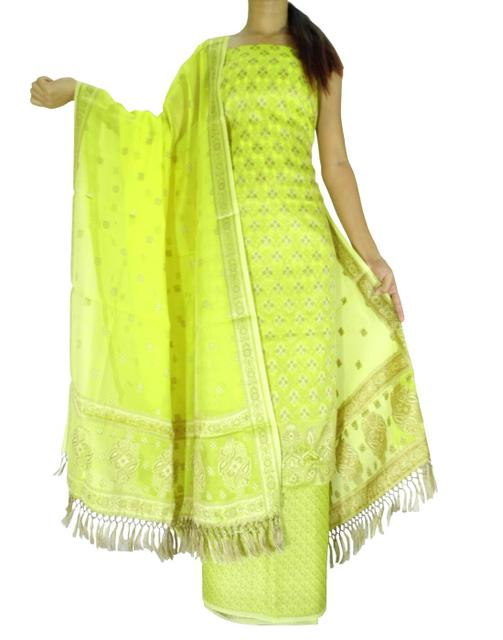 Benarasi Jamdani Brocade Suit in Silk-Cotton-Yellow 1