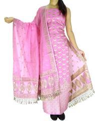 Benarasi Jamdani Brocade Suit in Silk-Cotton-Pink 1