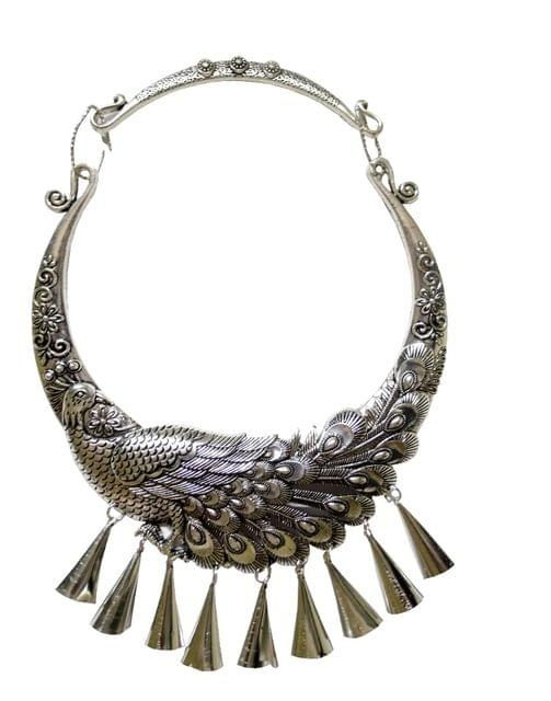 Peacock Statement Necklace in Oxidized Metal