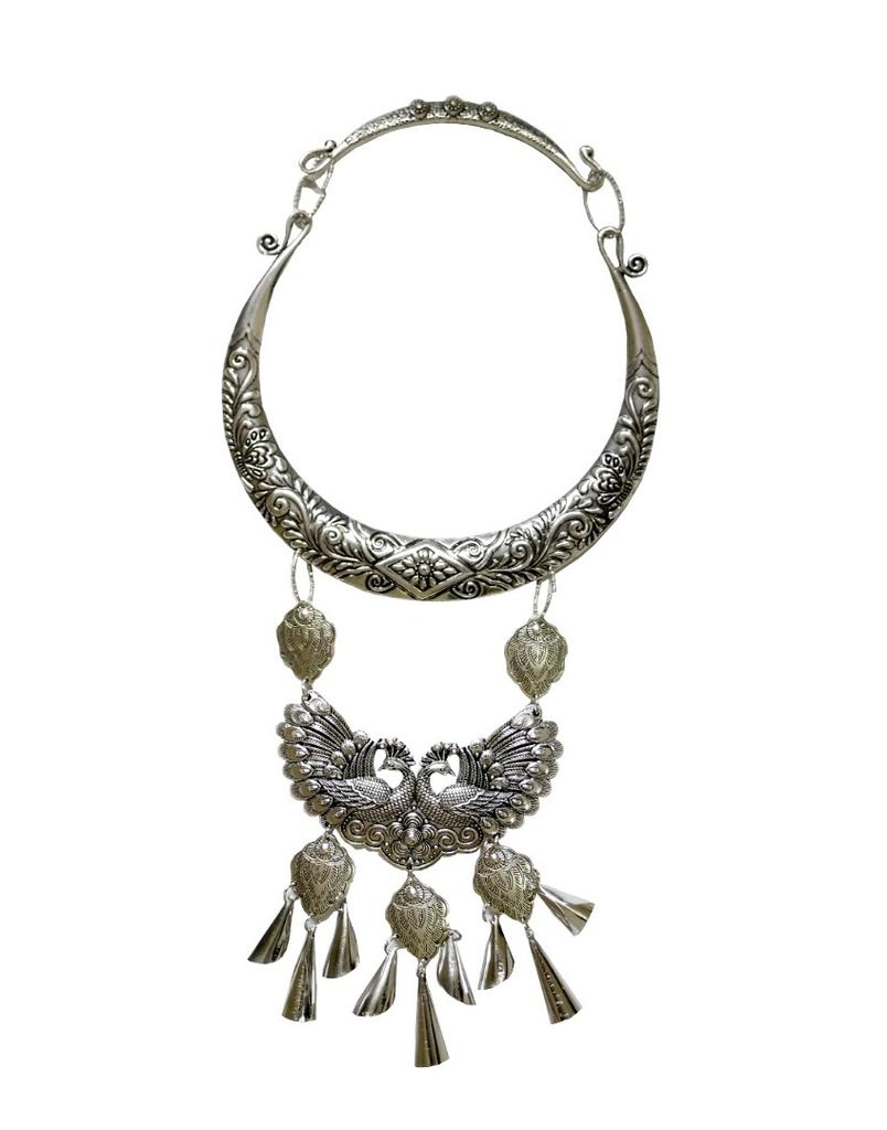Peacock Statement Necklace in Oxidized Metal 2
