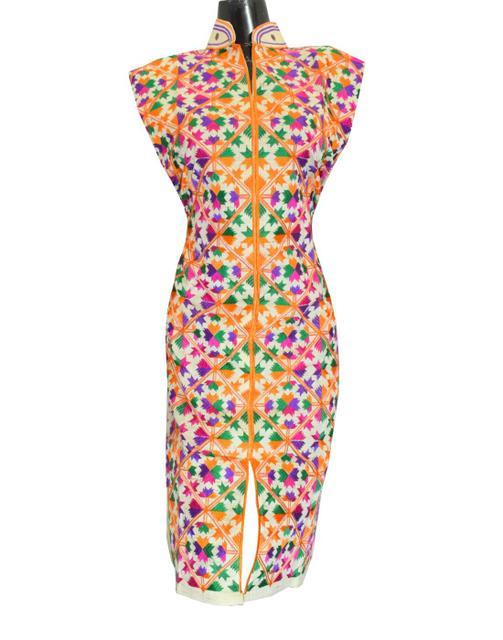 Khadi Phulkari Kurta Semi Stitched - Pattern 3