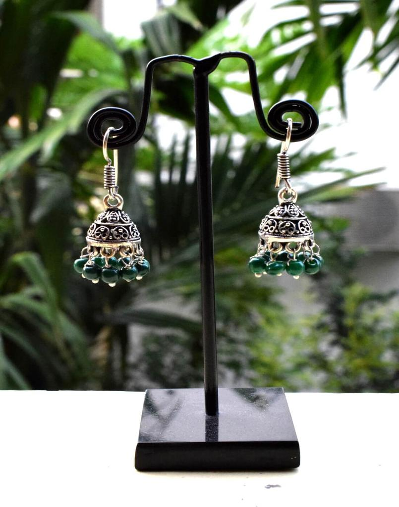 Oxidized Metal Jhumkas/Jhumkis-Green Beads