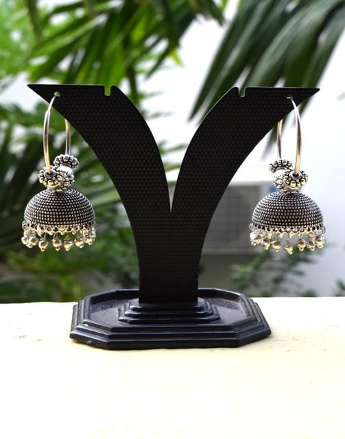 German Silver Hoop Earrings- Silver Bead jhumkas 3