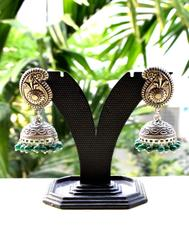 German Silver Jhumkas/Jhumkis- Dark Green Beads