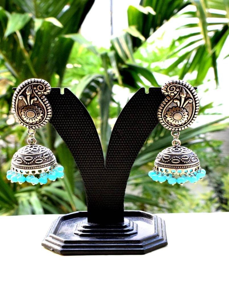 German Silver Jhumkas/Jhumkis- Turquoise Beads